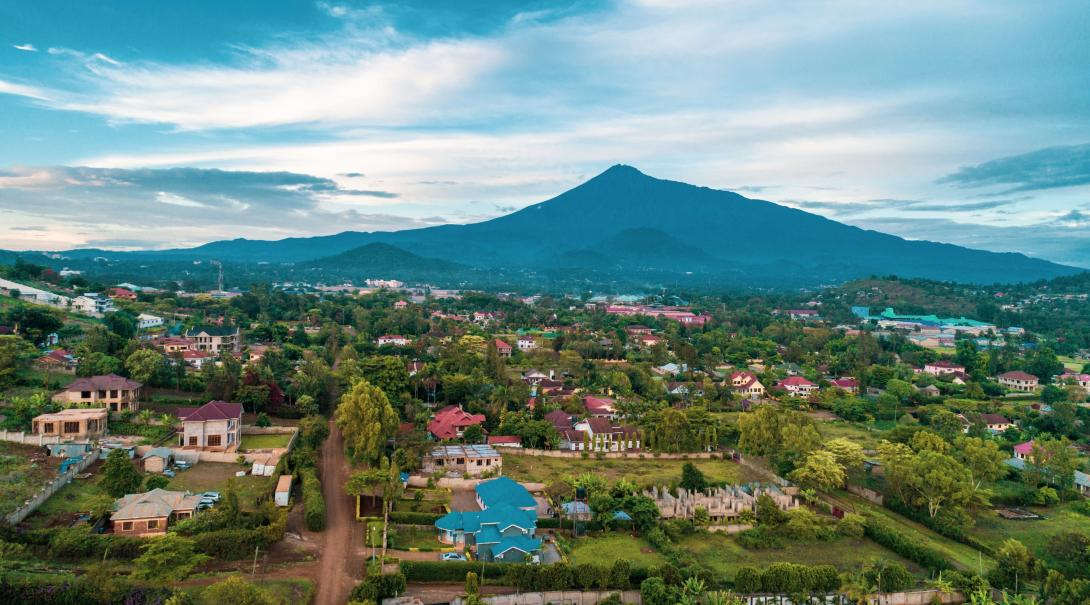 Arusha town showing its beautiful architecture and balance between nature and structures with its mountain in the background.